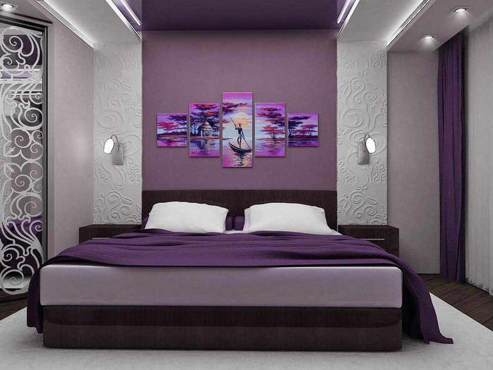 Сиреневые спальни картинки