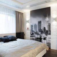 вариант красивого украшения стиля стен в спальне картинка