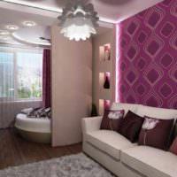 пример яркого дизайна гостиной спальни 20 метров картинка
