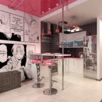 идея необычного интерьера комнаты в стиле поп арт фото
