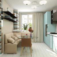 вариант светлого дизайна окна на кухне фото