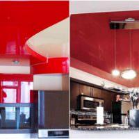 пример светлого стиля потолка на кухне картинка