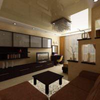 вариант красивого интерьера гостиной спальни 20 метров картинка