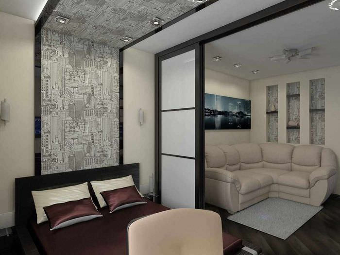 пример красивого стиля гостиной 20 метров