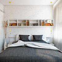 вариант светлого дизайна спальни 20 метров картинка