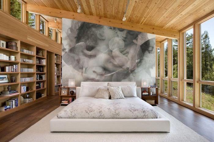 Фотообои с размытыми эффектами в светлой спальне с панорамными окнами