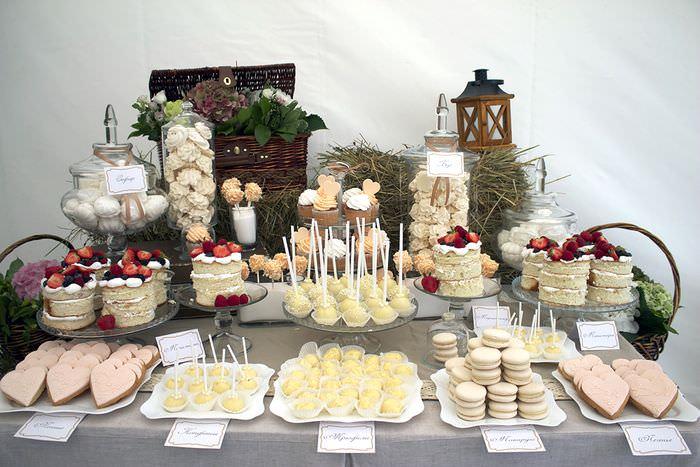 Оформление сладкого стола своими руками на свадьбе