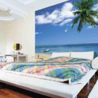 Морские фотообои в дизайне спальни