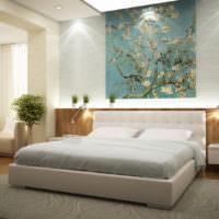 Спальня в современном стиле с фотобоями