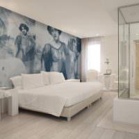 Черно-белые панорамные фотообои в спальне
