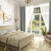 Спальня в загородном доме с фотообоями