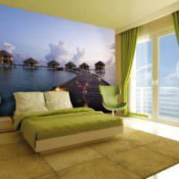 Морская тема на фотообоях спальни