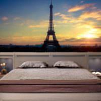 Парижские мотивы на фотообоях в спальне