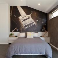 Фотообои с гитарой в спальне музыканта
