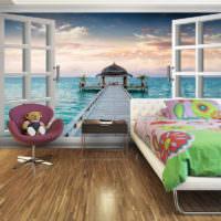 Детская спальня с фотообоями в мультяшной тематике