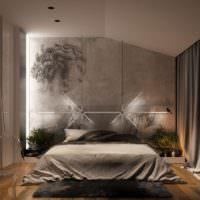 Серые тона в спальне с фотообоями