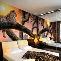 Оформление стены спальни с помощью реалистичных фотообоев