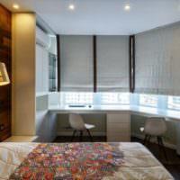Жалюзи на окнах в интерьере спальни 12 кв метров