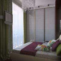 Телевизор напротив кровати в спальне в хрущевке
