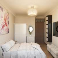 Белое постельное белье в спальне площадью 12 кв м