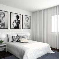 Картины над изголовьем кровати в интерьере спальни 12 кв м