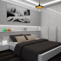 Черное покрывало на кровати в спальне 12 кв метров