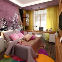 Яркий дизайн маленькой спальни 12 кв метров