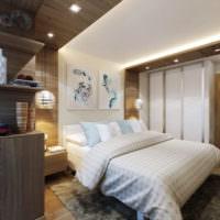 Зонирование пространства спальни 12 кв м с помощью светильников