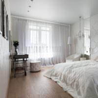 Белоснежный интерьер спальни 12 кв м