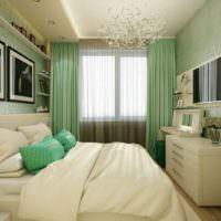 Преобладание зеленых тонов в интерьере спальни 12 квадратов