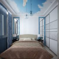 Кремовые и голубые цвета в декоре спальни 12 квадратов