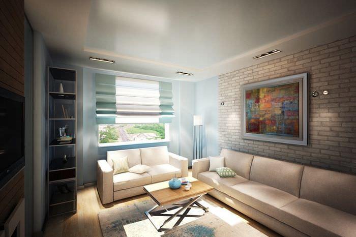 Дизайн комнаты однокомнатной квартиры в едином стиле