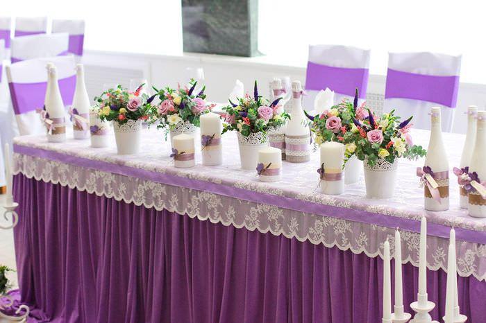 Декорирование свадебного стола молодоженов в стиле Прованс