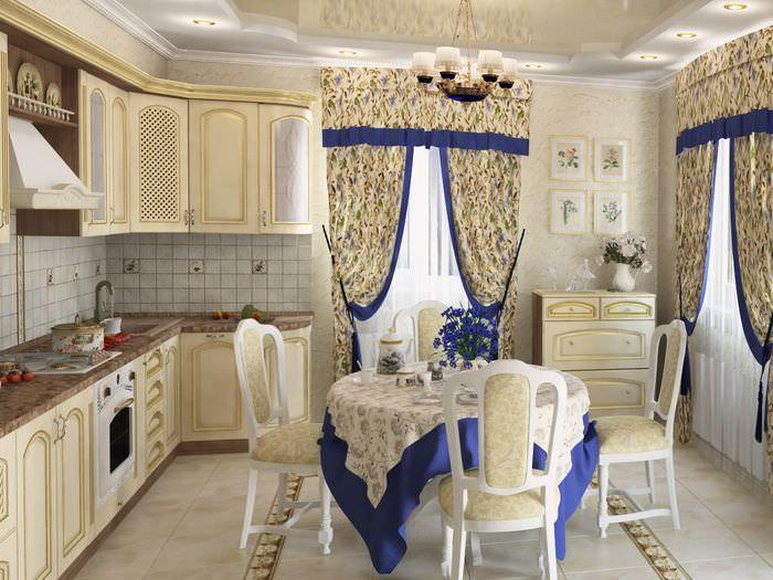 Шторы из натуральной ткани в убранстве дома в стиле прованс