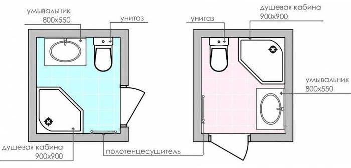 Схемы планировки компактного санузла с душевой кабиной в углу