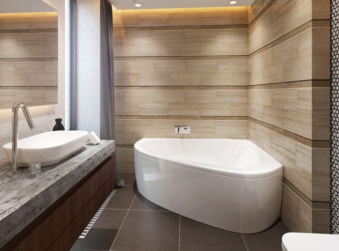 Дизайн совмещенного санузла с угловой ванной