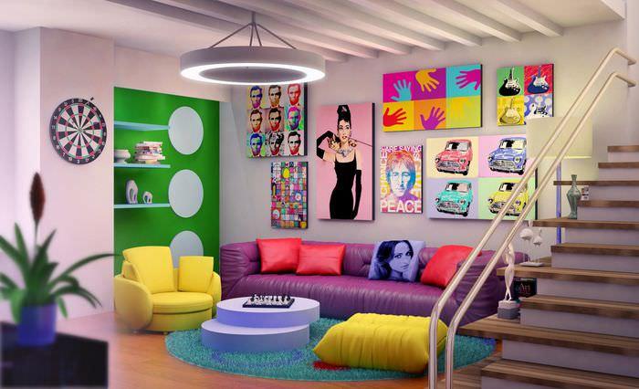 вариант яркого интерьера дома в стиле поп арт