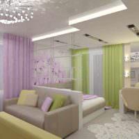 вариант яркого дизайна гостиной спальни 20 метров картинка