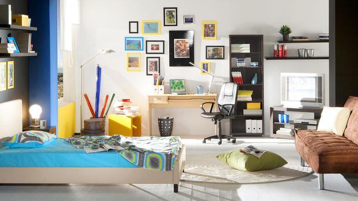 пример светлого декора комнаты в стиле поп арт