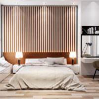 вариант необычного украшения декора стен в спальне фото