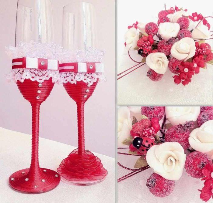 пример светлого украшения декора свадебных бокалов