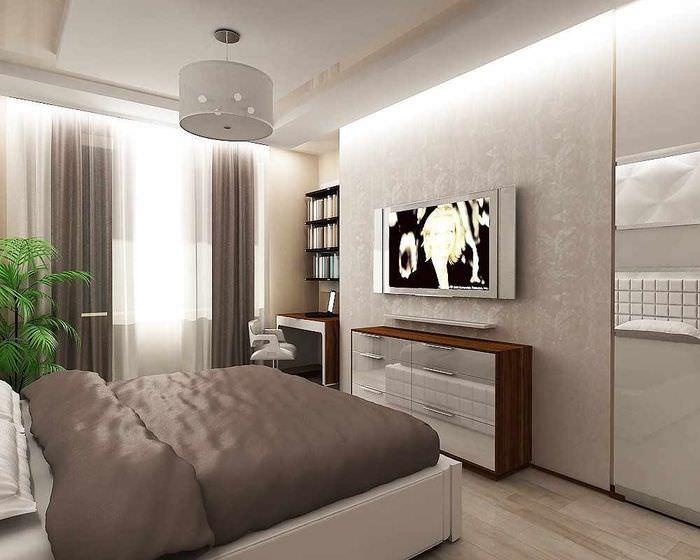 вариант светлого проекта интерьера спальни