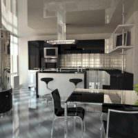 пример красивого интерьера потолка кухни фото