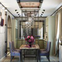 пример яркого стиля потолка кухни фото