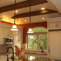 вариант необычного дизайна потолка на кухне картинка