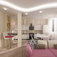 вариант необычного дизайна гостиной спальни 20 метров картинка