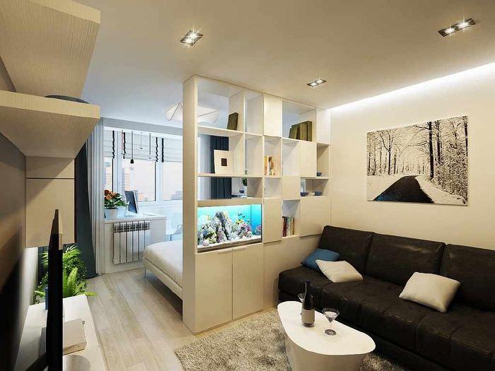 пример яркого стиля гостиной 20 метров