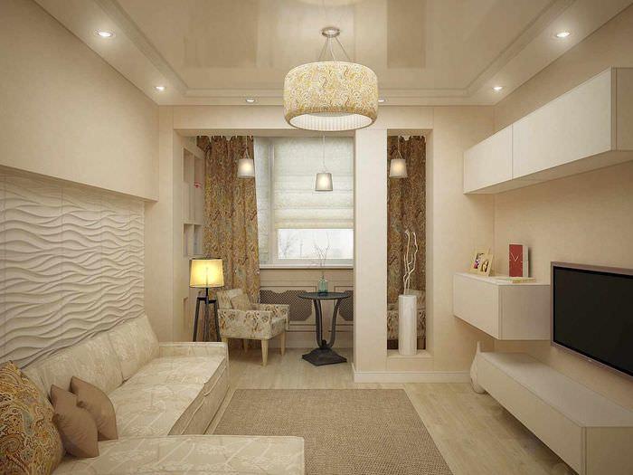 пример светлого интерьера спальни 20 метров