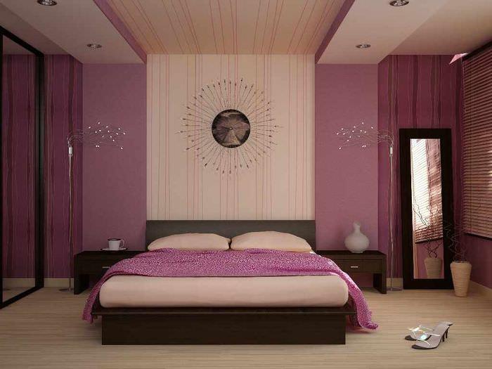 идея необычного украшения стиля стен в спальне