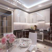 пример светлого проекта дизайна кухни фото